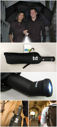 The Zero Grid Travel Umbrella has a handle that functions as an LED flashlight that pivots forward to light up the path ahead while canopy is deployed.