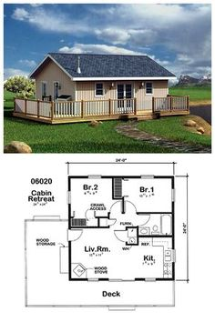 6020 measures 24 by 24 With two bedrooms 1 shared bathroom kitchen living room with wood stove and a deck this design has everything you need for modest living Cabin House Plans, Cabin Floor Plans, Tiny House Cabin, Small House Floor Plans, Tiny House Living, Tiny House Design, Cabin Homes, Tiny Homes, Two Bedroom Tiny House