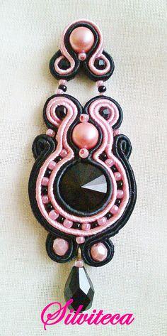Pendientes soutache en negro y rosado