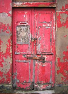 Stunning weathered pink door