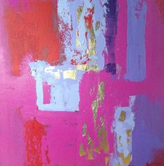 Abstract Painting Gold Leaf 20x20 pink by JenniferFlanniganart, $150.00