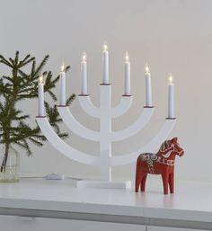 Kynttelikkö Egil 7-osainen valkoinen jouluna
