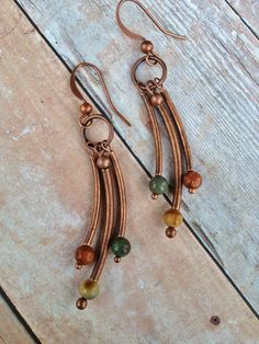Copper Dangle Tube Earrings with Natural Stone Accents