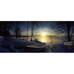 Snow covered boats at the riverside Vuoksi River Imatra South Karelia Southern Finland Finland Canvas Art - Panoramic Images (36 x 12)