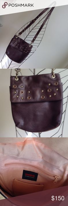Hobo leather cross body bag Hobo crossbody bag all brown leather with outside zip pocket and rivets on front and handle.inside pockets. HOBO Bags Crossbody Bags