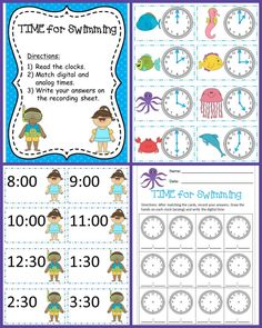 TIME for Swimming is just one game in the K-2 Oceans of Learning Literacy & Math bundle. Tell time to the hour and half hour by matching analog and digital clocks.