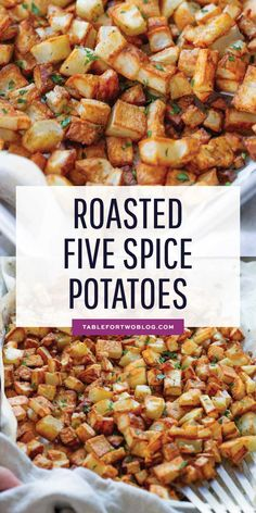 Roasted five spice potatoes are a flavorful twist on the classic roasted potatoe. - Roasted five spice potatoes are a flavorful twist on the classic roasted potatoes! Potato Side Dishes, Best Side Dishes, Side Dish Recipes, Dinner Recipes, Dinner Ideas, Meal Ideas, Broccoli, Blog Food, Plat Simple