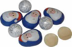 Scrummy milk chocolate Santa's and snowballs, solid and with creme filling.