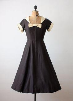 50s dress - vintage 1950s black bow dress - 50s party dress. $120.00, via Etsy.