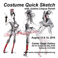 Aug. 13 & 14, 2016 -  Costume Drawing Workshop with live models @Center Stage Gallery in Burbank CA For info and registration https://justinelimpusparish.wordpress.com/