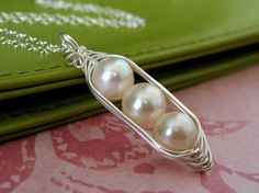 Three PEAs in a POD white freshwater pearl sterling by muyinmolly, $37.00