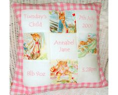 Pink Beatrix Potter Memory cushion by Tuppenny House Designs