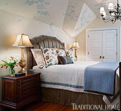 What do you like best about this Sycamore Branches stenciled bedroom spotted in Traditional Home Magazine? We love the sophisticated comfort and unexpected stencil pattern!  ~ Take a look to the stencil:  http://www.cuttingedgestencils.com/tree-branches-stencils.html?utm_source=JCG&utm_medium=Pinterest&utm_campaign=Sycamore%20Branches%20Stencils%203pc%20set