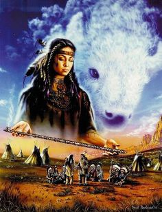 White Buffalo Calf Woman (Lakota: Pte Ska Win), a sacred woman of supernatural origin, is treated as a prophet or a messiah and is central to the Lakota religion. Native American Legends, White Buffalo Woman, American Art, Indian Pictures, Indian Art, Pictures, American Painting