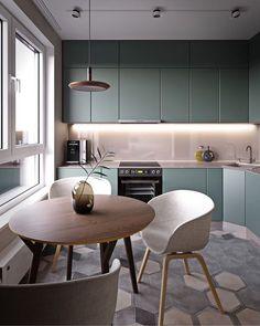 Круглый стол и белые стулья на кухне с серым кухонным гарнитуром Интерьеры и Дизайны (@pingwin.interior) в Instagram: «Как все лаконично , а вы, что думаете? Автор : @timgabrielpro»