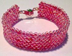 Small Pink Beaded Cuff Bracelet by SleepingCatsJewelry on Etsy