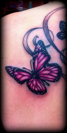Small Butterfly Tattoos | Pink Butterfly tattoo by Slabzzz
