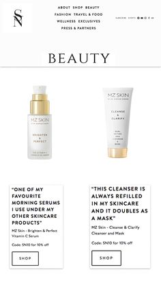 Beauty and fashion blogger Sarah Nicollier features MZ Skin Brighten & Perfect Serum and Clarify Cleanser and Mask in her top skincare products list!  @sarahnicollieruk @MZSkinOfficial #MZSkin #DrMaryamZamani #MZGlow #Glowingskin #serum #sarahnicollie #skincare #hydration #clenaser #clarify Tanning Solution, Aesthetic Clinic, Top Skin Care Products, Skin Cleanse, Skin Brightening, Shampoo And Conditioner, Body Wash, Glowing Skin, Travel Style