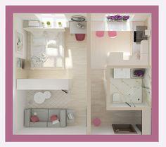 Trendy home decoration minimalist tiny house Sims House Plans, Small House Plans, House Floor Plans, Sims House Design, Small House Design, Apartment Layout, Apartment Design, Apartment Ideas, Home Design Plans