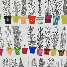 Italian Blooms Swedish Flower Pots Fabric by Olle Eksell. I love the attention to detail here- all the miniscule details like dots and stripes and blooms. Scandinavian and mid century modern style.