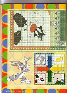 Looney Tunes Playing Board- part 4 of 4 Cross Stitch Games, Cross Stitch For Kids, Cross Stitch Boards, Cute Cross Stitch, Cross Stitch Animals, Cross Stitch Patterns, Crochet Patterns, Looney Tunes, Disney Cartoons