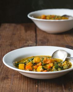 Lentil and Butternut Squash Soup // A Couple Cooks