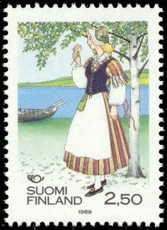 Postage stamp depicting a traditional Finnish dress from the Veteli region ,1989