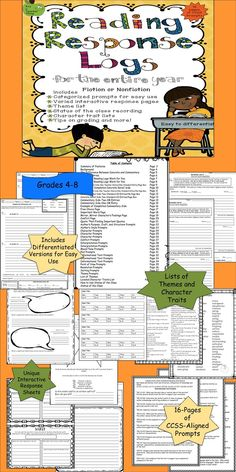 The Reading Response Log Unit, from It's a Teacher Thing, is CCSS aligned and can be a year-long unit.  Regularly use this simple format to check student understanding of literary elements and independent reading novels or non-fiction.  The unit is easy to differentiate and includes 16 pages of prompts organized by literary element with the standards on the top of each page, versions of the Reading Response Log template, lists of themes and character traits, and more!