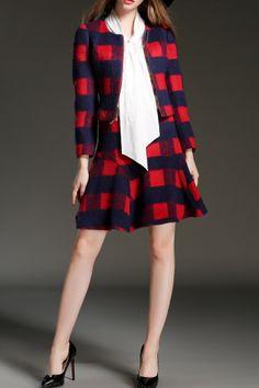 Poscilla Plaid Plaid Coat And Mini Winter Skirt | Mini Dresses at DEZZAL