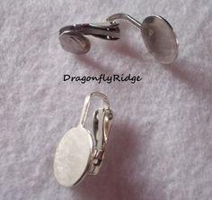 Silver Earring Clip Pad Setting 10mm DIY Jewelry by dragonflyridge, $2.00