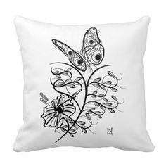 Feminine Calligraphic Flower With Butterfly Art Pillow