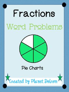 """Thank you for downloading my FREE fractions word problems with pie charts.Fractions is one of those math topics that many students struggle with learning. This download allows students to """"color"""" to answer the questions by shading pie charts. Product Use:* Can be put on an activboard for a whole or small group lesson.* Great for use on computers for math centers.* Black and white version allows for a more ink friendly copy to distribute as worksheets.* Can be mailed to parents or put on a…"""