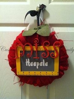 Teacher's Apple Burlap Wreath by CWDbyEmily on Etsy, $20.00