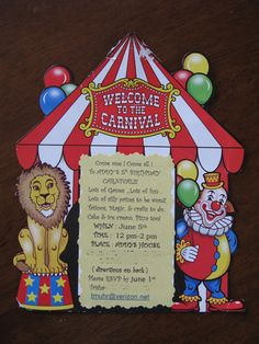 kids carnival birthday party | They are actually supposed to be frames. I decided to print the invite ...