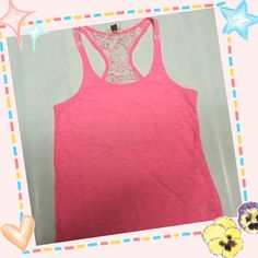l.e.i Hot Pink Tank Top L.e.i brand Hot Pink tank toponly used once Very nice design on back with some nice flowers see thru as seen in photos. Very nice material 100%polyesterStill like new L.e.i Tops Tank Tops