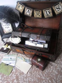 Items similar to Victorian Steampunk Wedding Guest Book Alternative Vintage Styled Card Box Card Banner Wedding Wish Box Ring Box Vow Book Sign on Etsy Wedding Guest Style, Vintage Wedding Theme, Wedding Themes, Trendy Wedding, Wedding Ideas, Wedding Dresses, Wedding Country, Diy Wedding, Wedding Ceremony