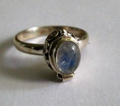 RING - ORNATE - MOONSTONE -  Oval -Poison - Opens - Side Swirls  - 925 - Sterling Silver  - size 9  -    moonstone415 by MOONCHILD111 on Etsy