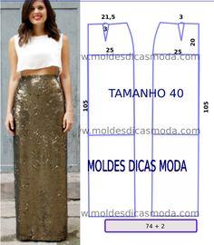 As medidas do molde de saia lantejoulas correspondem ao tamanho 40 na tabela de medidas Portuguesa e tamanho 42 na tabela de medidas Brasileira...