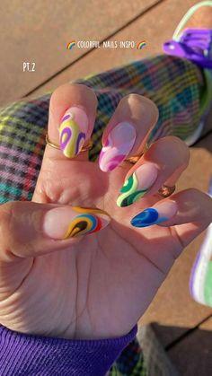 Edgy Nails, Funky Nails, Stylish Nails, Swag Nails, Bright Nails, Pastel Nails, Nail Design Stiletto, Nail Design Glitter, Simple Acrylic Nails