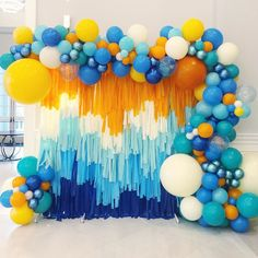 Diy Photo Booth Backdrop, Streamer Backdrop, Party Streamers, Birthday Balloon Decorations, Baby Shower Decorations, Balloon Garland, Balloon Columns, Rainbow Birthday, Backdrops For Parties