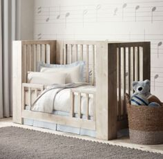 RH baby&child's Callum Toddler Bed Conversion Kit:Stout corner posts and simple, straight lines define our Callum Crib. A protective safe haven for little ones, it combines tried-and-true functionality with a pleasingly modern aesthetic.