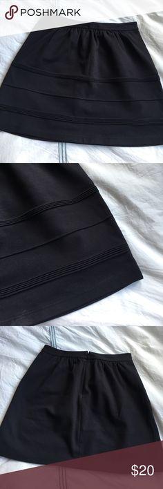 J.Crew navy swingy stretch mini skirt Love the detailing! EUC. 65% viscose, 29% nylon, 6% spandex. 16 inches long. J. Crew Skirts Mini