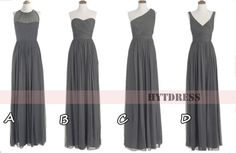 Long Grey Bridesmaid Dress with convertible Chiffon bridesmaid dresses & Long Grey Prom Dress