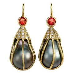 Caged Tahitian Pearl Pink Sapphire Diamond Gold Earrings