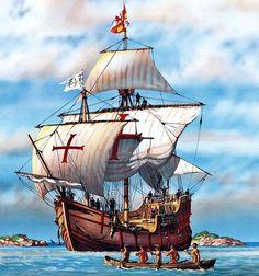 Nao La Santa María en la isla de Guanahani. 12 de octubre de 1492