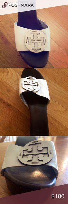Tory burch wedges Excellent condition authentic Tory Burch wedges in white. Small scuff shown in picture otherwise in great condition. Very comfortable!!! Tory Burch Shoes Wedges