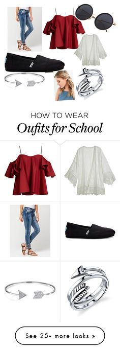 """""""first day of school look 😊"""" by taylorgracelyn13 on Polyvore featuring Miss Me, Anna October, Calypso St. Barth, TOMS, Belk Silverworks, Bling Jewelry and Urban Outfitters"""