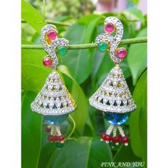 American Diamond Beautiful Earrings with Red and Green Stones - Online Shopping for Earrings by Pink And You