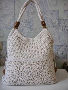 MADE TO ORDER  Cream handmade crochet handbag .Summer cotton