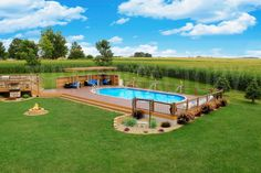 ✔ 49 most popular backyard ideas with pool design for 2019 41 - Oberirdischer Pool, Above Ground Swimming Pools, Swimming Pools Backyard, Swimming Pool Designs, In Ground Pools, Semi Inground Pool Deck, Semi Inground Pools, Lap Pools, Pool Cabana